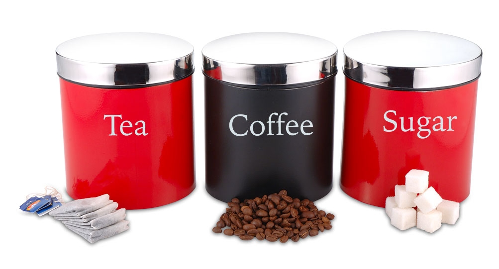 Canister Tea Coffee Sugar  Red/Black