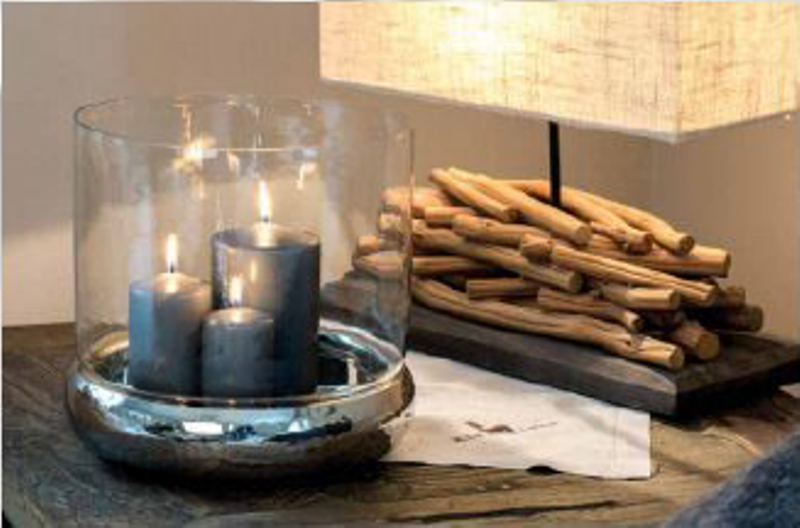 Shallow Belly Candle Holder With Glass