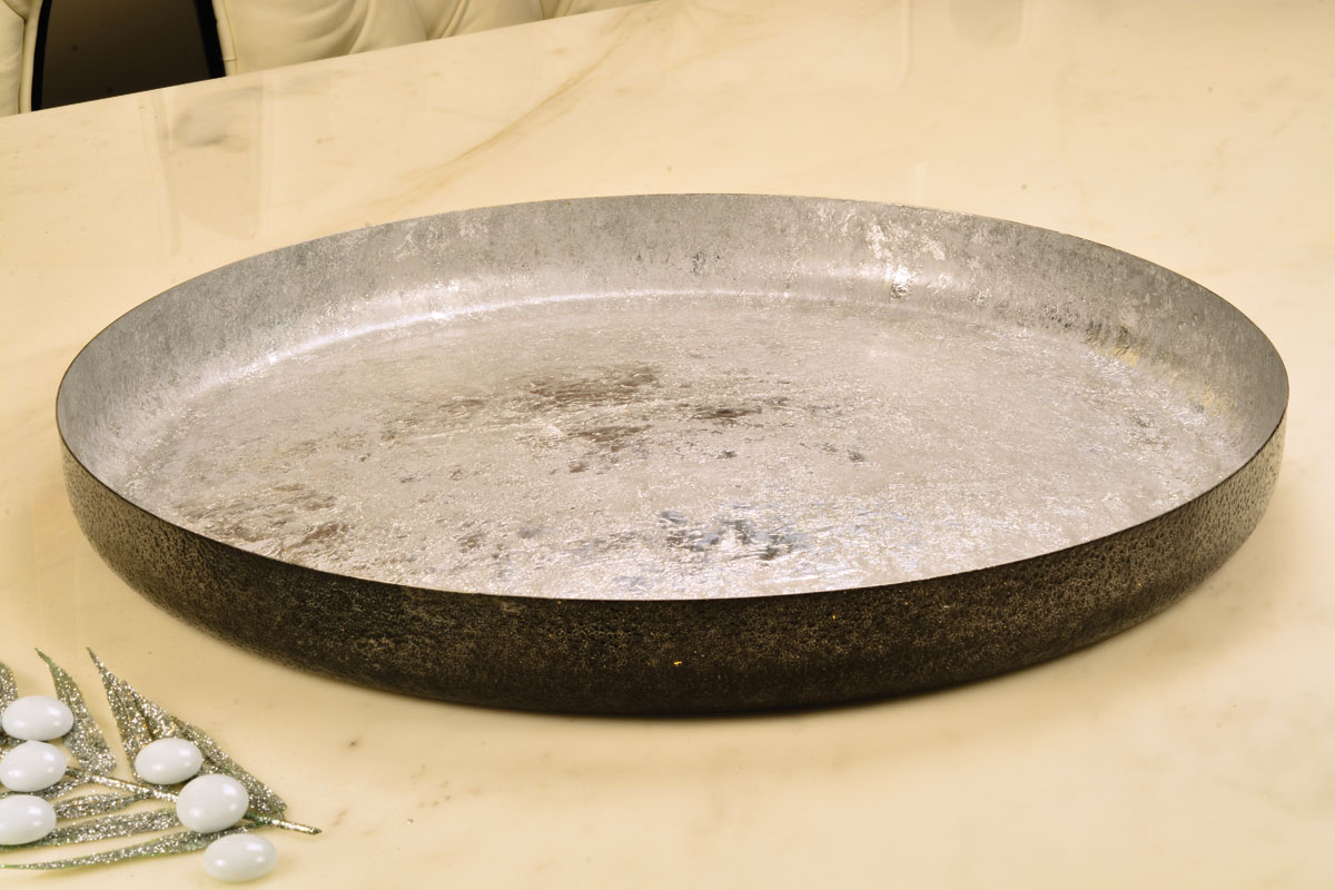 Round serving tray Silver leafing