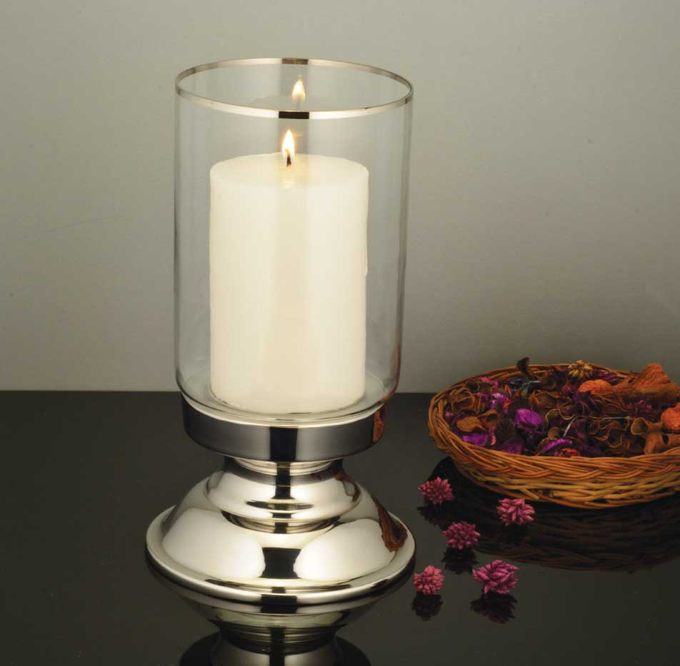 Dinner candle holder with tall plain glass
