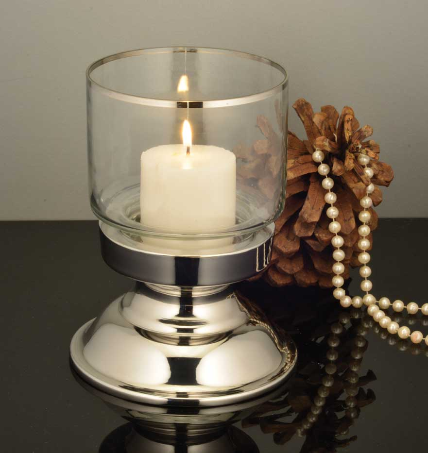 Dinner candle holder with plain glass