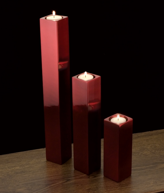 Square tower candle holder Red