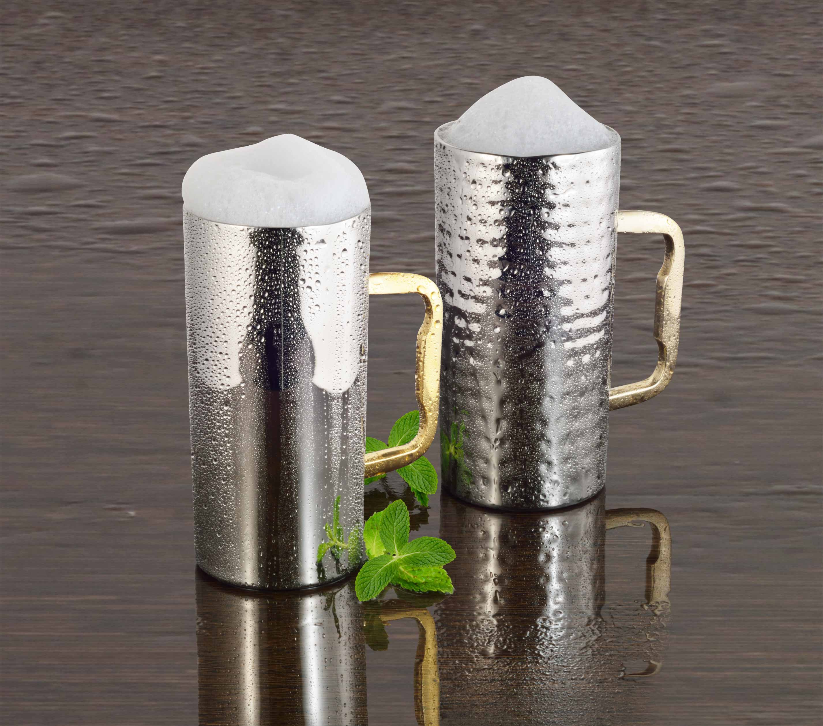 Beer mug with brass handle