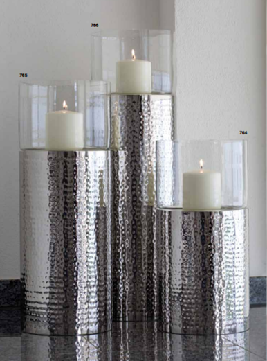 Bullet tower hammered candle holder